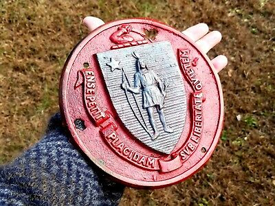 Old Massachusetts State Seal Brass Militia Insignia Coat of Arms Plaque
