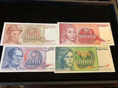Group of 4 Mid to late 80's Yugoslavian UNC Banknotes .99c NO RESERVE