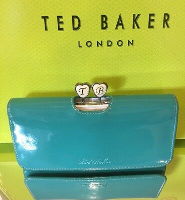 Ted Baker Ladies Leather Green White Heart Clutch Coin Purse Large