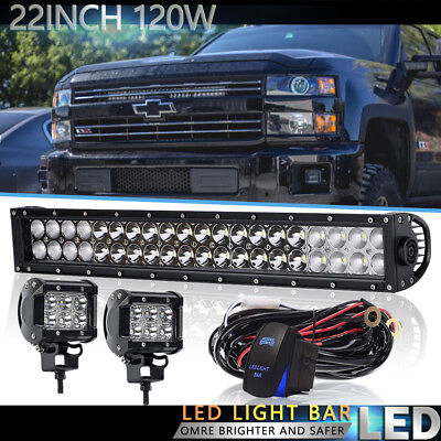 22Inch Dual Row Led Work Light Bar For Driving Offroad Strobe GMC