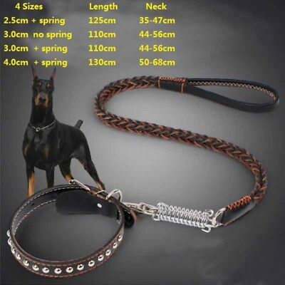Dog Pet Cat Harness Bold Collar Chain Faux Leather Woven Leash Large Puppy Long