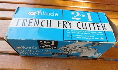 Vintage EKCO Miracle FRENCH FRY CUTTER 2 blades original box