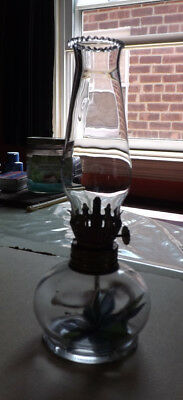 """Miniature Italian Glass Gas/Oil Lamp With Chimney, H8"""" and Blue Flowers Inside"""