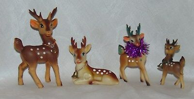 4 Vintage Christmas Reindeer Figures Moveable Heads Soft Plastic Made in Japan