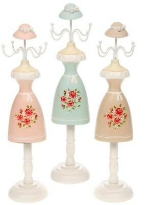 JEWELLERY NECKLACE HOLDER MANNEQUIN LADY STAND~ROSE BLUE or CARAMEL~FREE PP UK