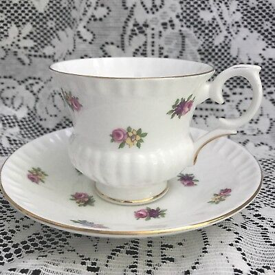 Crown Staffordshire Cup & Saucer, Floral on White Ribbed Porcelain, England