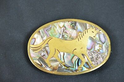 Vintage Brass Unicorn Belt Buckle Abalone Shell Inlay Mercedes J. Franklin #900
