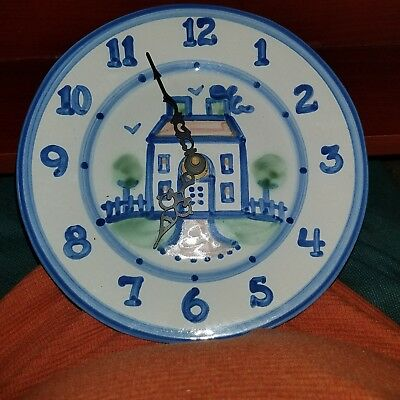 M. A. Hadley Pottery Hand Painted Dinner Plate Blue House Clock