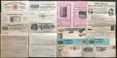 B965 US - Letterhead Lot of 6 w/ Envelopes + 2 Product Flyers 1907-1910