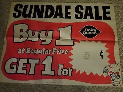 Vintage 1977 Dairy Queen Dennis the Menace Sundae SALE.  Buy one Get One poster