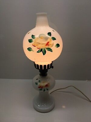 """Vintage Milk Glass Hand Painted Rose 17"""" Table Top Electric Hurricane Lamp"""