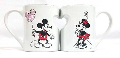 NEW Disney Parks Mickey Minnie XOXO Ceramic Coffee Mug Cup Set Rare