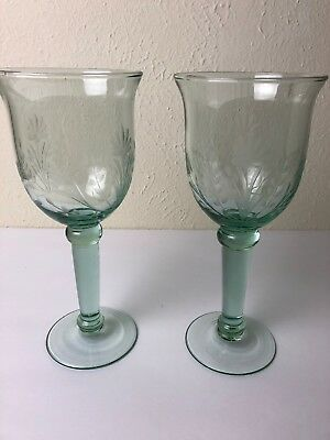 Collectible Very Large 16oz.Lt.Sage Green Blown Glass Wine Chalice/Water Goblet