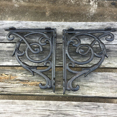 "2 BLACK ANTIQUE-STYLE 8"" SHELF BRACKETS CAST IRON rustic wall garden VICTORIAN"