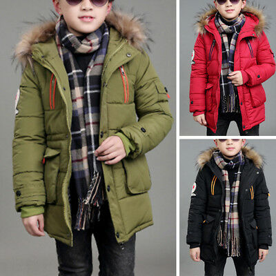 Kids Boys Padded Quilted Puffer Coat Jacket Hoodie Parka Warm Winter Casual Soft