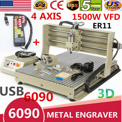 USB 1500W VFD 6090 cnc router engraver engraving 4 Axis +remote Controler USA