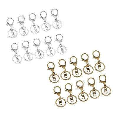 20 Sets Key Ring Key Chain Lobster Clasp Trigger Swivel Clips Findings DIY