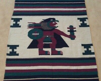 """AZTEC BLANKET / TAPESTRY, Eagle Warrior, """"Cuauhtl"""", 48"""" by 80"""", Wool/Cotton"""