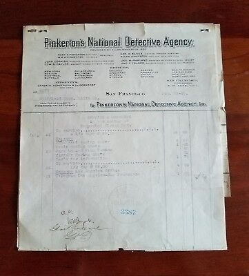1910 Pinkerton's Expense Invoice & Check Goldfield Mines Nevada Stolen Gold Ore