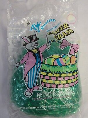 Vintage  80s AJ Quality Cellophane EASTER GRASS New NOS Made in the USA 1 1/2 oz