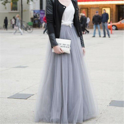 Fashion Maxi Women's Tulle Skirts100cm Long Celebrity Skirt Ball Gown