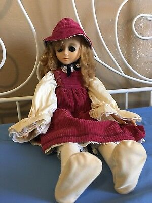 "Vintage 1970's Sekiguchi Printemp 18"" Doll Blue Glass Eyes Dress/hat/shoes"