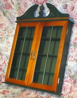Vintage Wall Curio Display Cabinet Wood W/ Green Shelves Glass Doors Brass  *READ