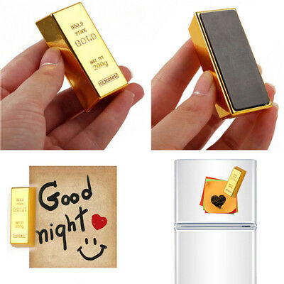 Gold Brick Shape Refrigerator Magnets Home Room Refrigerator Decor Craft Gift