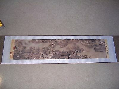 Asian Wall Hanging Scroll of Village Box Included