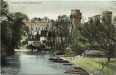 Vintage postcard, View of Warwick castle on the river, UK
