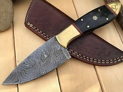 "HUNTEX Custom Handmade Damascus 8.6"" Long Full Tang Horn Hunting Skinning Knife"