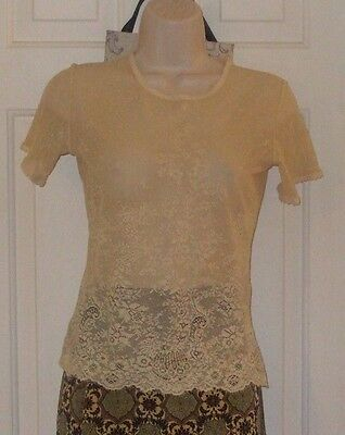 Love Amour XS Vintage Off White Lacy Nylon Women's Top Blouse