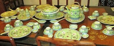 53 pc Longevity dinner set 6 plate rice bowl Tureen Tea pot platter Spoon Yellow