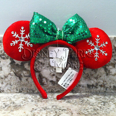 Disney Parks Holiday Christmas Red and Green Snowflake Minnie Ears Headband