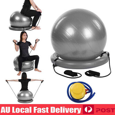 Yoga Home Gym Balance Exercise Pilates Fitness Ball with Base Resistance Bands
