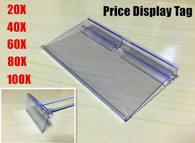 Tag Retail Shop sign label clear price sign card holder for slat wall hooks 8cm