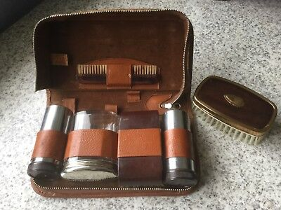Two - Tix Vintage Mens Grooming Travel Kit Made in England plus additional brush