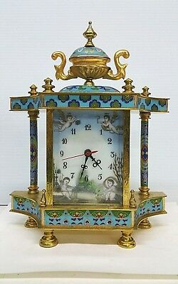 Vintage Chinese Table Clock Cloisonne Enamel Hand Painted and Bronze Mechanical