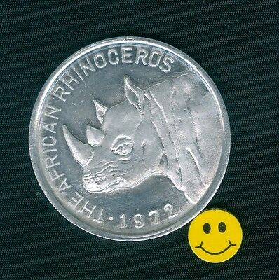 African Rhinoceros Collectible Zulu Mardi Gras Doubloon Token Coin 1972