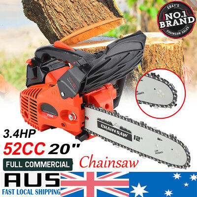 "Brand New 52cc Petrol Commercial Chainsaw 20"" Bar E-Start Chain Saw Pruning"