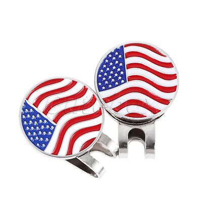 Portable USA Flag Metal Golf Ball Marker Magnetic Hat Clip Accessory Golfer Gift