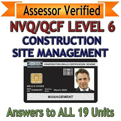 NVQ Diploma LEVEL 6 Construction Site Management ALL ANSWERS * QUICK DISPATCH *