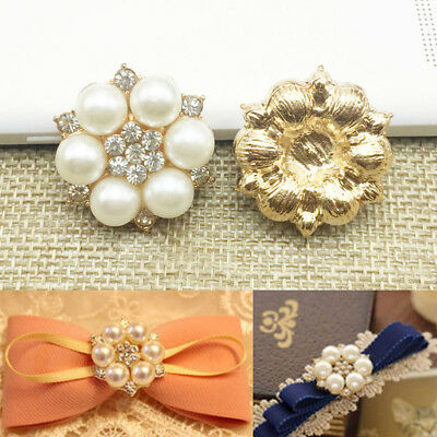 Crystal Faux Pearl Rhinestone Buttons Flower Flatback DIY Craft Embellishment