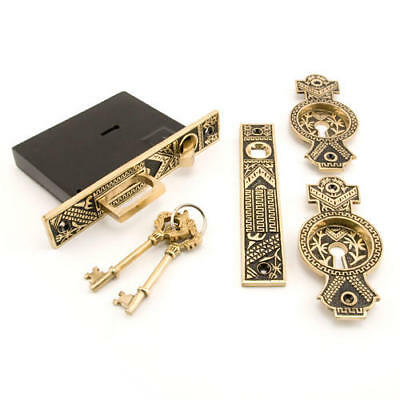 Small Oriental Pocket Door Mortise Lock Privacy with Blackened Brass