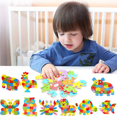 Kids Baby Wooden Wood Animal Puzzle Numbers Alphabet Learning Educational Toy