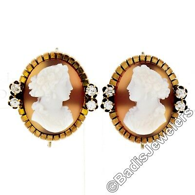 Antique Edwardian 14k Gold Carved Agate Cameo Mine Diamond Fluted Frame Earrings