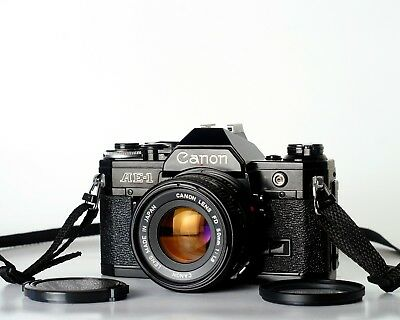 CANON AE1  Black w/ Canon 50mm F1.8 FD Lens TESTED EXCELLENT