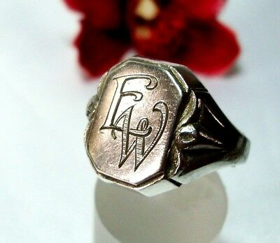 alter Siegelring 835 Silber mit Monogramm EW / WE Fingerring / co 137