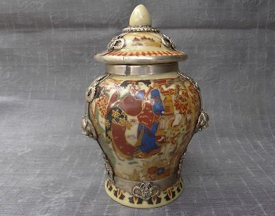 Porcelain Drawing Dowager Armoured Dragon Phoenix & Lion Usable Storage Pot b02