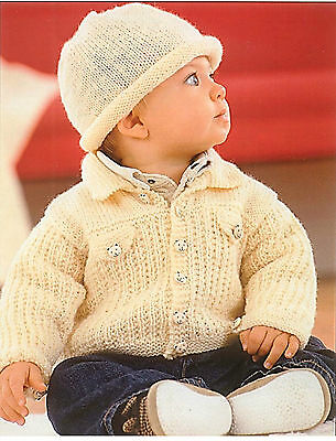 baby childrens jacket and hat dk knitting pattern 78